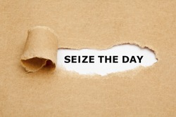 Text Seize The Day appearing behind torn brown paper.