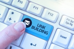 Text showing inspiration Link Building. Business overview SEO Term Exchange Links Acquire Hyperlinks Indexed Typing Certification Document Concept, Retyping Old Data Files