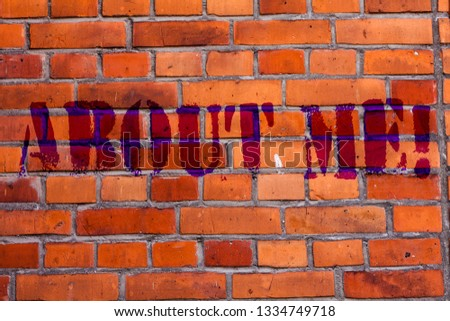 Text sign showing About Me. Conceptual photo My Personal Characteristics Information Likes and Dislikes Brick Wall art like Graffiti motivational call written on the wall. #1334749718