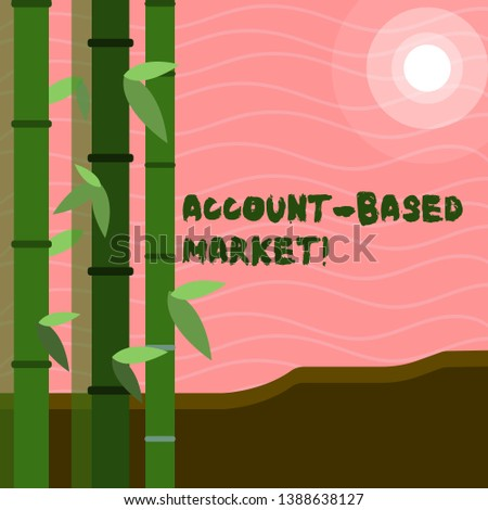 Text sign showing Account Based Market. Conceptual photo resources target a key group of specific accounts Colorful Sets of Leafy Bamboo on Left Side and Moon or Sun with Round Beam.