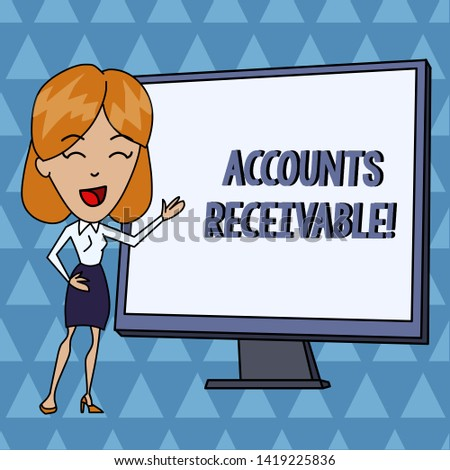 Text sign showing Accounts Receivable. Conceptual photo Legal Claim of Payment Money Owed to by Debtors White Female in Standing Pointing Blank Screen Whiteboard Presentation.