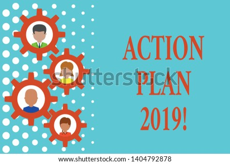 Text sign showing Action Plan 2019. Conceptual photo proposed strategy or course of actions for current year Gearshaped picture frame family ornament mother father daughter son photo.