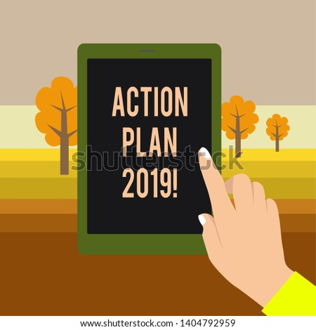 Text sign showing Action Plan 2019. Conceptual photo proposed strategy or course of actions for current year Female Hand with White Polished Nails Pointing Finger Tablet Screen Off.