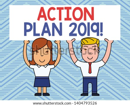 Text sign showing Action Plan 2019. Conceptual photo proposed strategy or course of actions for current year Two Smiling People Holding Big Blank Poster Board Overhead with Both Hands.