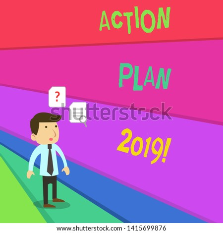 Text sign showing Action Plan 2019. Conceptual photo proposed strategy or course of actions for current year Young Male Businessman Office Worker Standing Searching Problem Solution.