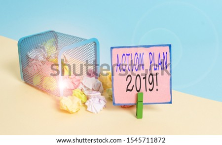 Text sign showing Action Plan 2019. Conceptual photo proposed strategy or course of actions for current year Trash bin crumpled paper clothespin empty reminder office supplies tipped. #1545711872