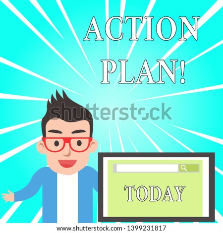 Text sign showing Action Plan. Conceptual photo proposed strategy or course of actions for certain time.