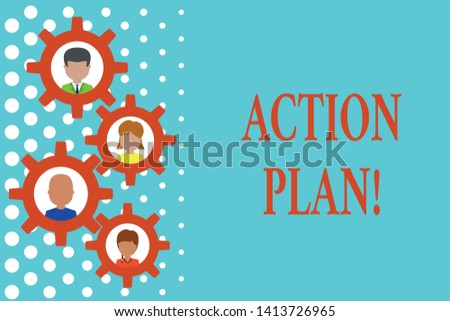 Text sign showing Action Plan. Conceptual photo proposed strategy or course of actions for certain time Gearshaped picture frame family ornament mother father daughter son photo.