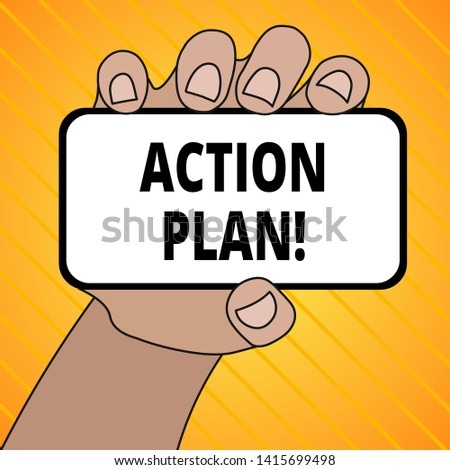Text sign showing Action Plan. Conceptual photo proposed strategy or course of actions for certain time Closeup of Smartphone Device Held in Hand with Blank Screen and Text Space.