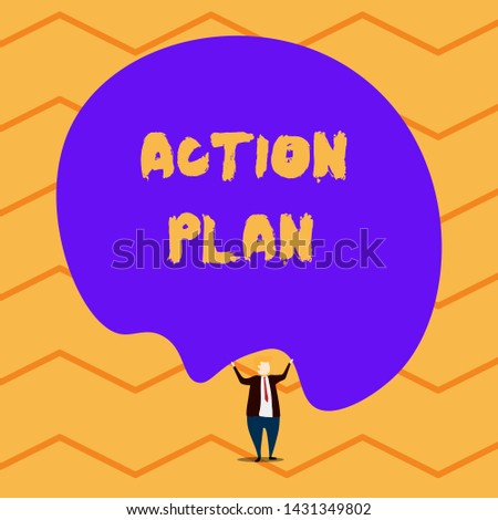 Text sign showing Action Plan. Conceptual photo proposed strategy or course of actions for certain time Male human wear formal tuxedo hold asymmetrical shape bubble use both hands.
