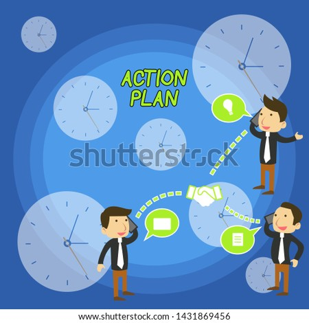 Text sign showing Action Plan. Conceptual photo proposed strategy or course of actions for certain time Businessmen Coworkers Conference Call Conversation Discussion Mobile Phones.