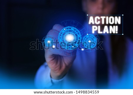 Text sign showing Action Plan. Conceptual photo proposed strategy or course of actions for certain time Woman wear formal work suit presenting presentation using smart device.