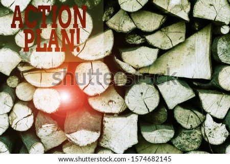 Text sign showing Action Plan. Conceptual photo proposed strategy or course of actions for certain time Background dry chopped firewood logs stacked up in a pile winter chimney. #1574682145