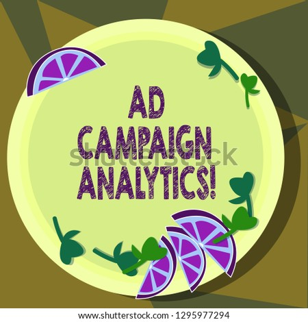 Text sign showing Ad Campaign Analytics. Conceptual photo monitor campaigns and their respective outcomes Cutouts of Sliced Lime Wedge and Herb Leaves on Blank Round Color Plate.