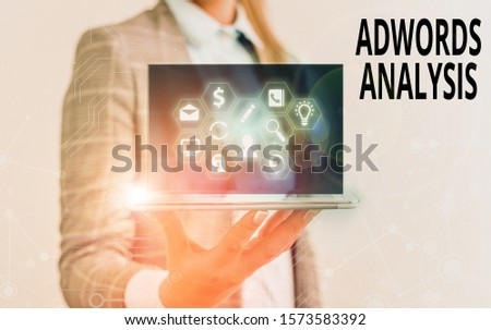 Text sign showing Adwords Analysis. Conceptual photo monitor campaigns and ensuring investment returns in ads.