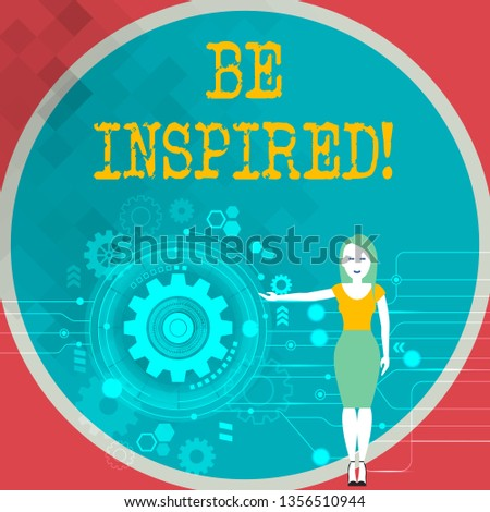 Text sign showing Be Inspired. Conceptual photo fill someone with urge or ability to do or feel something Woman Standing and Presenting the SEO Process with Cog Wheel Gear inside.
