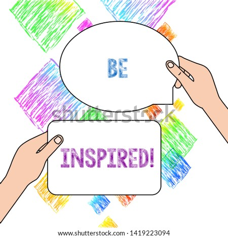 Text sign showing Be Inspired. Conceptual photo fill someone with urge or ability to do or feel something Two Blank Figured Tablets Signs Held in Hands One Above Other Text Space.