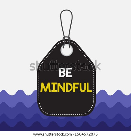 Text sign showing Be Mindful. Conceptual photo paying close attention to or being conscious of something Empty tag blank space colorful background label rectangle attached string.