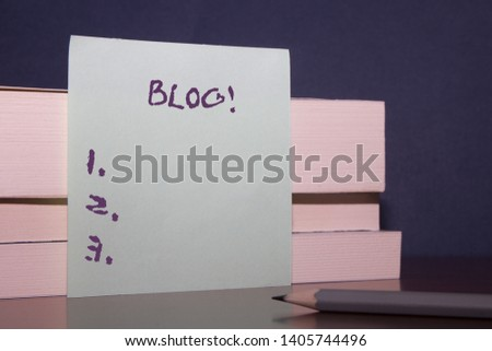Text sign showing Blog. Conceptual photo regularly updated website web page run by individual or group Close up three wooden different sizes rectangle boxes paper sheet pencil.