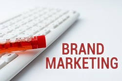 Text sign showing Brand Marketing. Business approach creating a name that identifies and differentiates a product Typing Medical Notes Scientific Studies And Treatment Plans