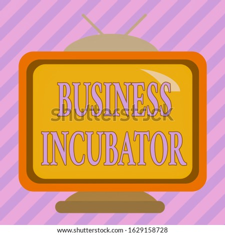Text sign showing Business Incubator. Conceptual photo company that helps new and startup companies to develop Square rectangle old multicoloured painting television picture wood design.