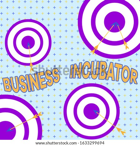 Text sign showing Business Incubator. Conceptual photo company that helps new and startup companies to develop Arrow and round target inside asymmetrical shaped object multicolour design.
