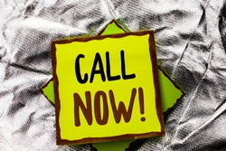 Text sign showing Call Now. Conceptual photo Contact Talk Chat Hotline Support Telephony Customer Service written on Stacked Sticky Note Paper on the Silver textured background.