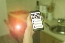 Text sign showing Casino Online. Conceptual photo gamblers can play and wager on casino games through online.