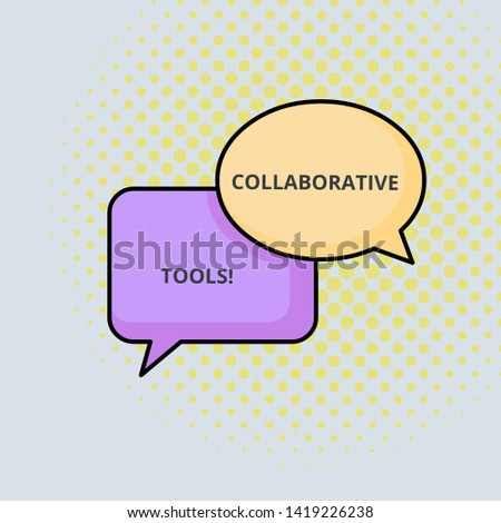 Text sign showing Collaborative Tools. Conceptual photo Private Social Network to Connect thru Online Email Pair of Overlapping Blank Speech Bubbles of Oval and Rectangular Shape.