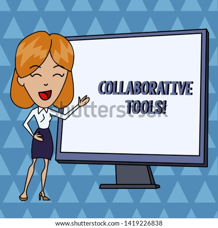 Text sign showing Collaborative Tools. Conceptual photo Private Social Network to Connect thru Online Email White Female in Standing Pointing Blank Screen Whiteboard Presentation.