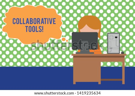 Text sign showing Collaborative Tools. Conceptual photo Private Social Network to Connect thru Online Email Young female working office sitting desktop computer office monitor photo.