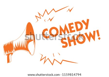 Text sign showing Comedy Show. Conceptual photo Funny program Humorous Amusing medium of Entertainment Orange megaphone loudspeaker important message screaming speaking loud.