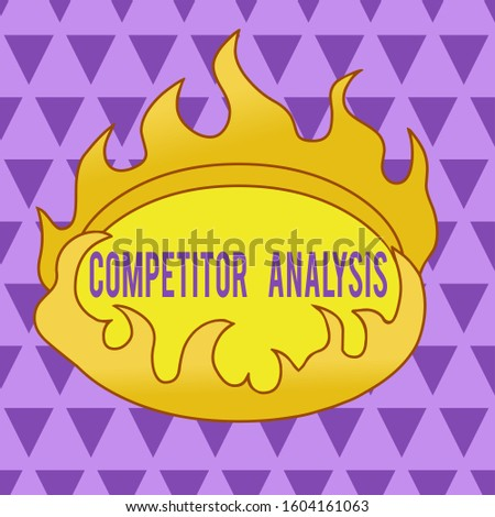 Text sign showing Competitor Analysis. Conceptual photo assessment of the strengths and weaknesses of rival firm Asymmetrical uneven shaped format pattern object outline multicolour design.