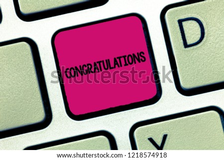 Text sign showing Congratulations. Conceptual photo Expressing praise for an achievement of someone Good wishes #1218574918