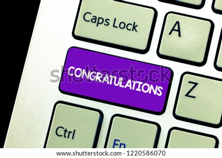 Text sign showing Congratulations. Conceptual photo Expressing praise for an achievement of someone Good wishes #1220586070