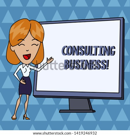 Text sign showing Consulting Business. Conceptual photo Consultancy Firm Experts give Professional Advice White Female in Standing Pointing Blank Screen Whiteboard Presentation.
