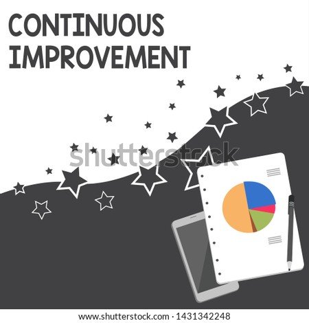 Text sign showing Continuous Improvement. Conceptual photo ongoing effort to improve products or processes Layout Smartphone Off Ballpoint Pen RingBound Notepad Business Pie Chart.