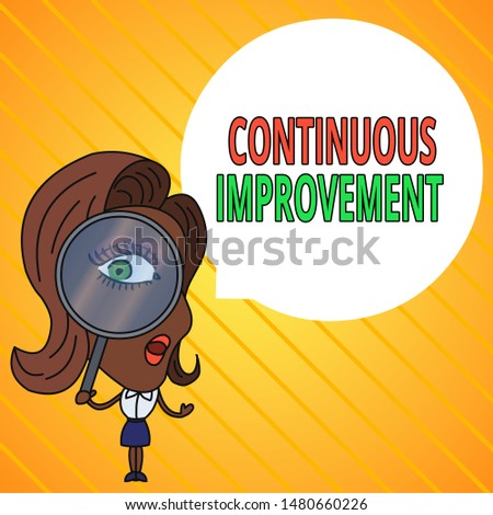 Text sign showing Continuous Improvement. Conceptual photo ongoing effort to improve products or processes Woman Looking Trough Magnifying Glass Big Eye Blank Round Speech Bubble.