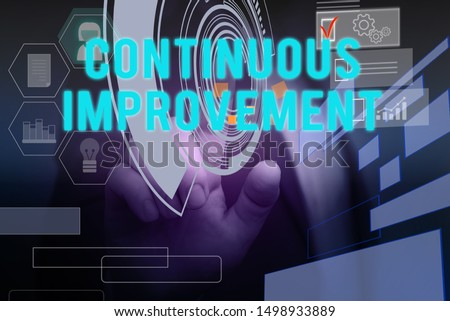 Text sign showing Continuous Improvement. Conceptual photo ongoing effort to improve products or processes Male human wear formal work suit presenting presentation using smart device.