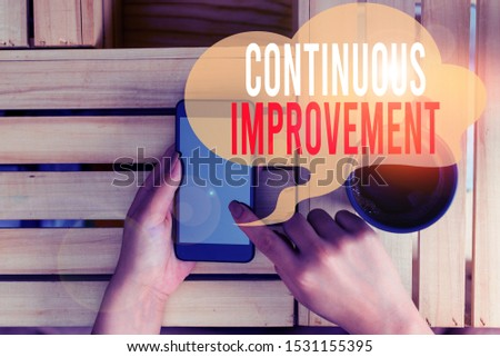 Text sign showing Continuous Improvement. Conceptual photo ongoing effort to improve products or processes woman computer smartphone drink mug office supplies technological devices.