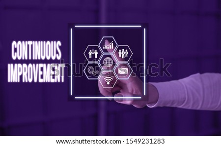 Text sign showing Continuous Improvement. Conceptual photo ongoing effort to improve products or processes Picture photo system network scheme modern technology smart device.