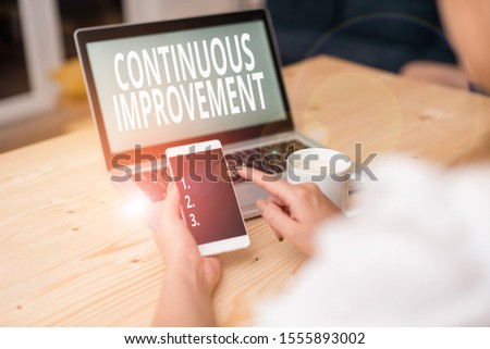 Text sign showing Continuous Improvement. Conceptual photo ongoing effort to improve products or processes woman laptop computer smartphone mug office supplies technological devices.