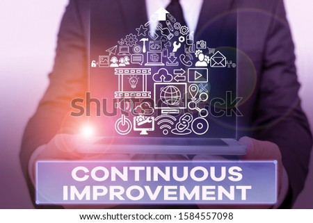 Text sign showing Continuous Improvement. Conceptual photo ongoing effort to improve products or processes.
