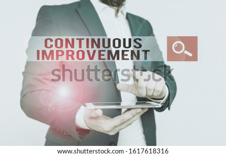 Text sign showing Continuous Improvement. Conceptual photo ongoing effort to improve products or processes Businessman with pointing finger in front of him.