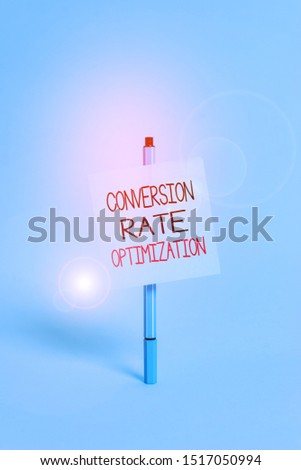 Text sign showing Conversion Rate Optimization. Conceptual photo system for increasing percentage of visitors Ballpoint blank colored sticky note peaceful cool pastel fashion background.