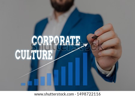 Text sign showing Corporate Culture. Conceptual photo pervasive values and attitudes that characterize a company Male human wear formal work suit presenting presentation using smart device. #1498722116