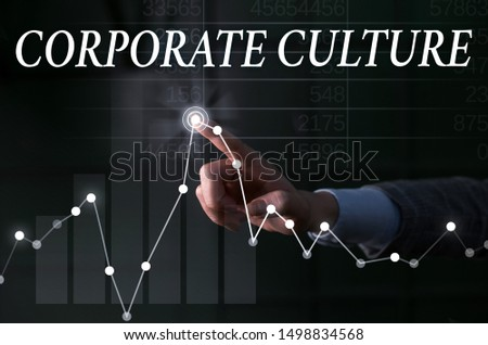 Text sign showing Corporate Culture. Conceptual photo pervasive values and attitudes that characterize a company Lady presenting hand blue glow futuristic modern technology tech graph economy look. #1498834568