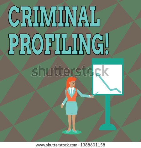 Text sign showing Criminal Profiling. Conceptual photo Develop profiles for criminals who not yet apprehended Businesswoman Holding Stick Pointing to Chart of Arrow Upward on Whiteboard.