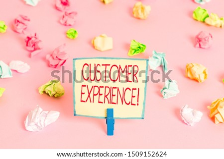 Text sign showing Customer Experience. Conceptual photo product of interaction between organization and buyer Colored crumpled papers empty reminder pink floor background clothespin.