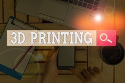 Text sign showing 3D Printing. Conceptual photo making a physical object from a threedimensional digital model.